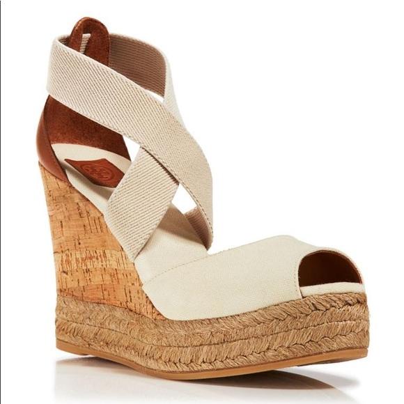 6036bd8cea Tory Burch Shoes | Peeptoe Cork Wedge | Poshmark
